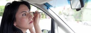 Applying makeup while driving is one of the most common driving distractions.