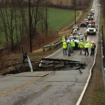 Heavy rain led to this sinkhole in rural Ohio.