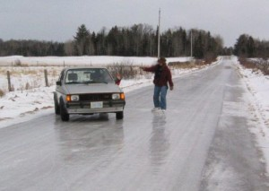 Ice covered roads are quite noticeable, and sometimes best avoided.