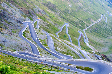 Imagine a driving experience along a zig-zagging road like Stelvio Pass in Italy. Amazing.