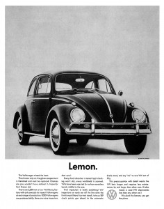 "Volkswagen's iconic ad may have made the term ""lemon car"" popular."