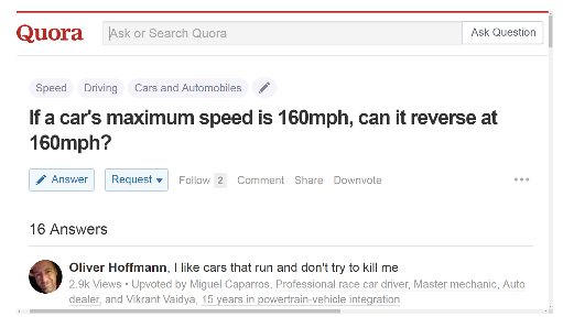 If a car's maximum speed is 160mph, can it reverse at 160mph?