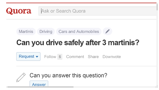 Can you drive safely after 3 martinis?