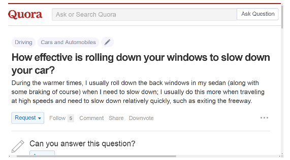 How effective is rolling down your windows to slow down your car?
