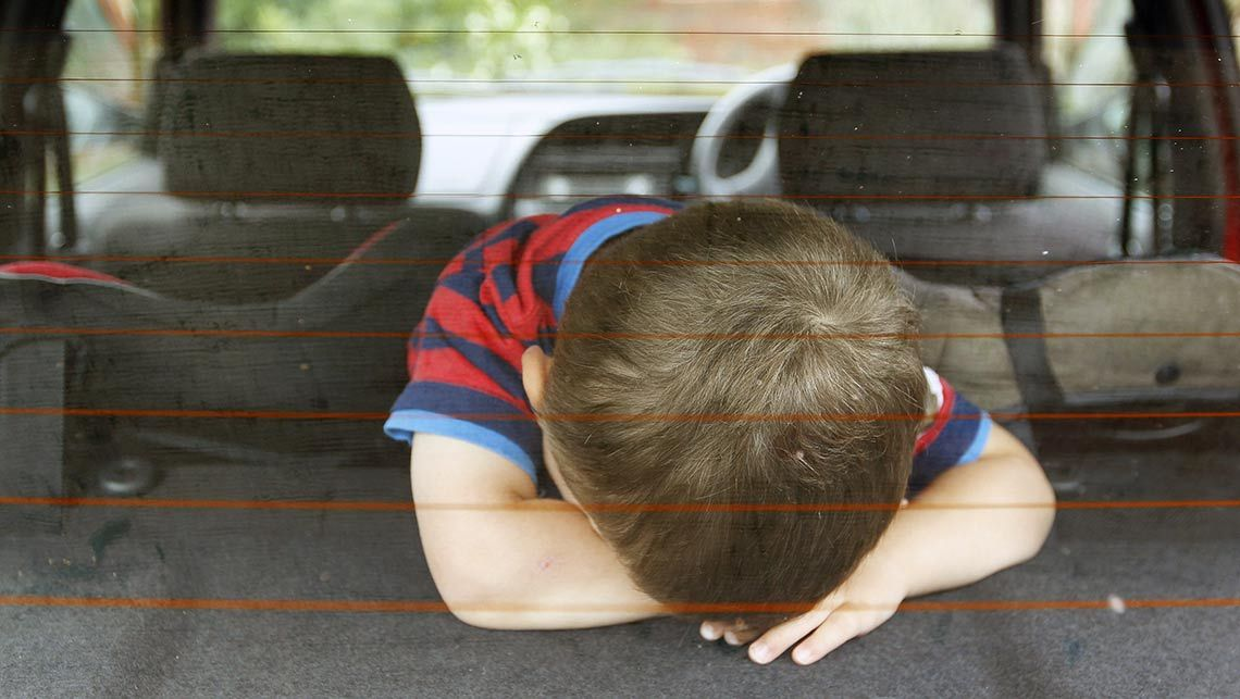 Child stuck in hot locked car