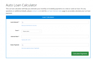 Our auto loan calculator can help you figure out your monthly payment.