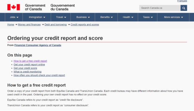 Find out what your credit profile looks like starting with the Government of Canada site.