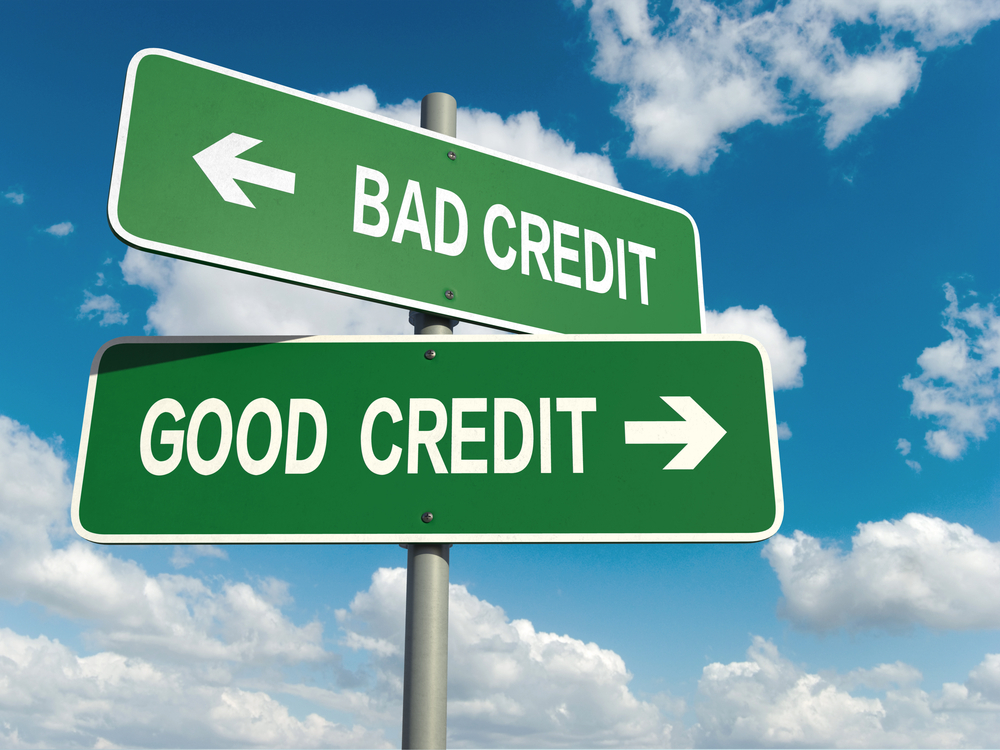 Sign post showing good credit and bad credit in toronto