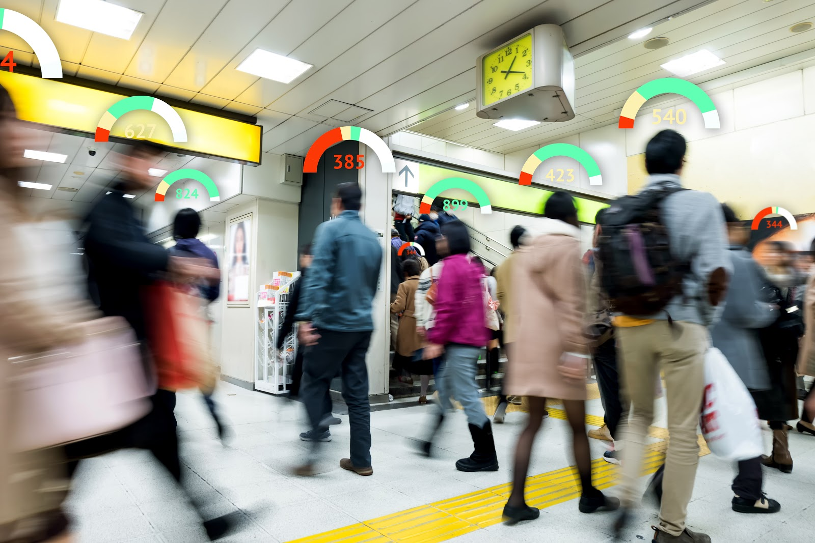 People walking through subway station with credit scores for car loans